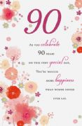 Age 90 Pink Floral Card
